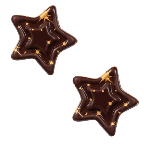 2 Etoiles Relief 3D Jaune/Cuivre Sciltillant - Chocolat Noir