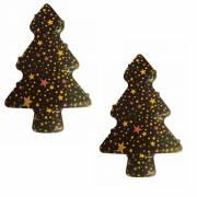 2 Sapins 3D Etoilés - Chocolat Noir