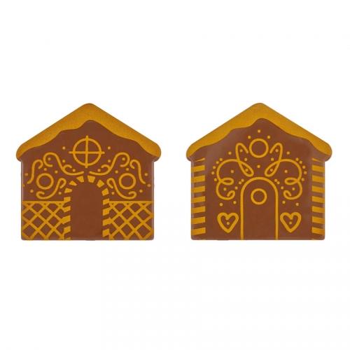 2 Embouts de Bûche Chalet de Marché de Noël (8 cm) - Chocolat au Lait