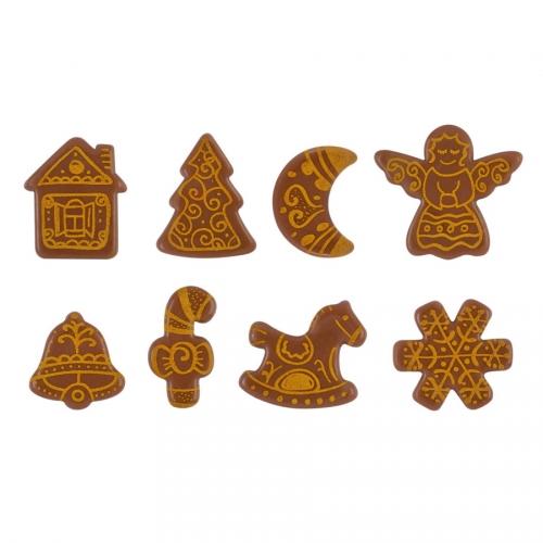 8 Décors Marché de Noël (3,5 cm) - Chocolat au Lait