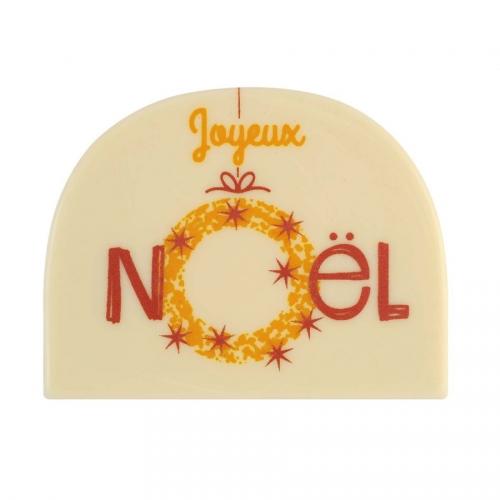 2 Embouts de Bûche Joyeux Noël (8 cm) - Chocolat Blanc