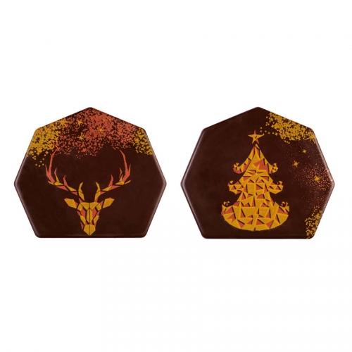 2 Embouts de Bûche Low Poly (8 cm) - Chocolat Noir
