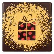 2 Embouts de Bûche Paquet Cadeau (8 cm) - Chocolat Noir