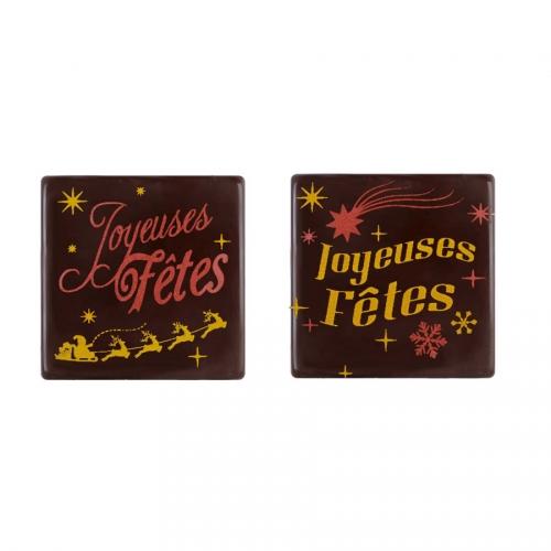 2 Embouts pour Bûchettes Joyeuses Fêtes (5 cm) - Chocolat Noir