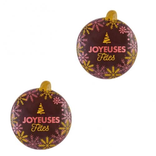 2 Boules Bombées Joyeuses Fêtes (5 cm) - Chocolat Noir
