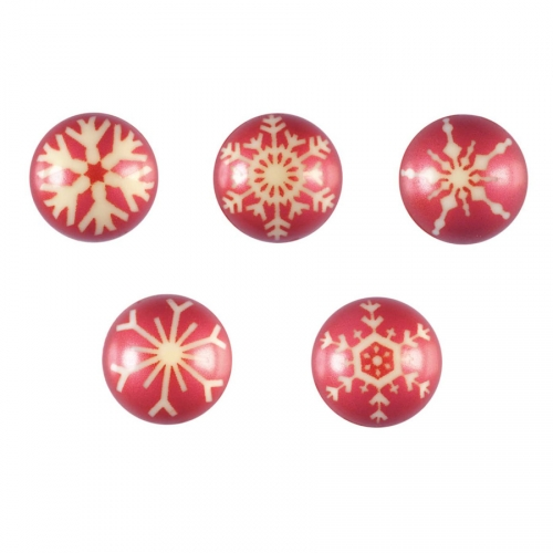 2 Boules 3D Flocons Rouge (2,8 cm) - Chocolat Blanc