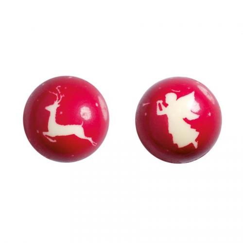 2 Boules 3D Renne/Ange Rouge (2,8 cm) - Chocolat Blanc