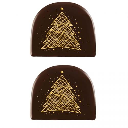 2 Embouts de Bûche Sapin Or (7,7 cm) - Chocolat Noir