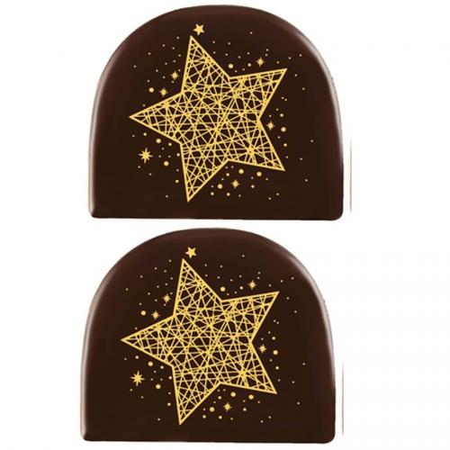 2 Embouts de Bûche Etoile Or (7,7 cm) - Chocolat Noir