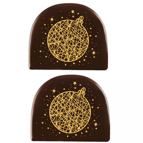 2 Embouts de Bûche Boule Or (7,7 cm) - Chocolat Noir