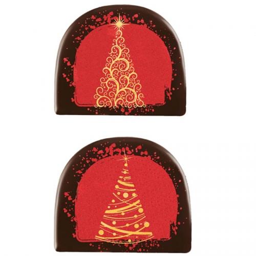 2 Embouts de Bûche Sapin Arabesque (7,7 cm) - Chocolat Noir