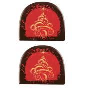 2 Embouts de Bûche Arabesque (7,7 cm) - Chocolat Noir