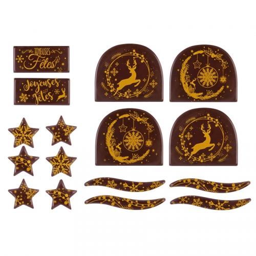 2 Kits Spécial Bûches Joyeuses Fêtes - Chocolat Noir