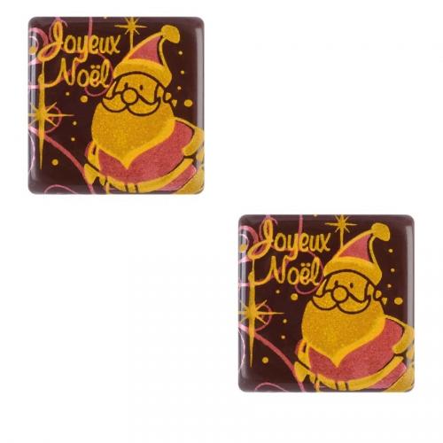 2 Carrés Père Noël (3 cm) - Chocolat Noir