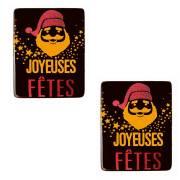 2 Plaquettes Joyeuses Fêtes Père Noël (5,2 cm) - Chocolat Noir