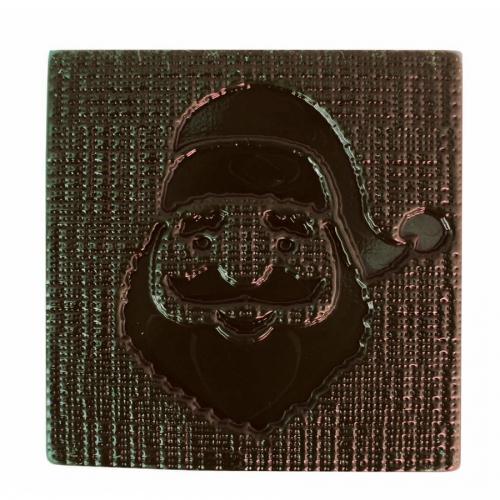 2 Embouts de Bûche Relief Père Noël (8 cm) - Chocolat Noir