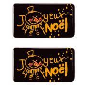 2 Plaquettes Joyeux Noël Bonhomme de Neige (5,5 cm) - Chocolat Noir