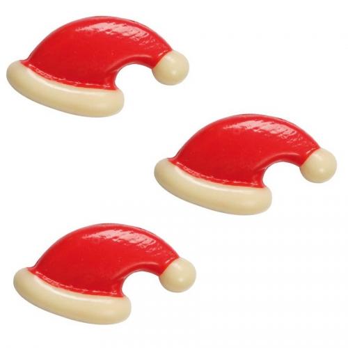 3 Bonnets de Noël (3 cm) - Chocolat Blanc