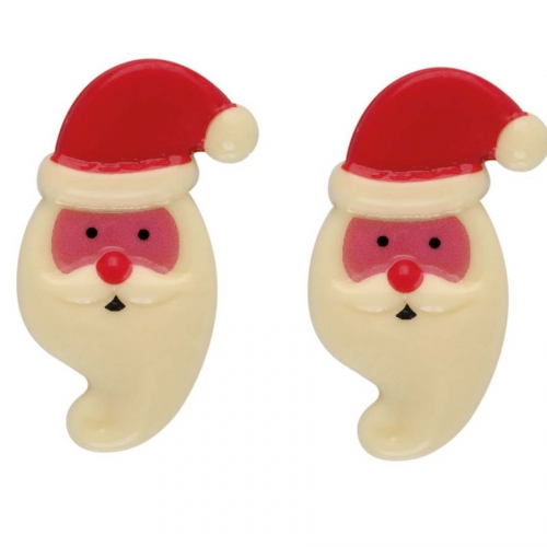 2 Silhouette Tête de Père Noël (5,5 cm) - Chocolat Blanc