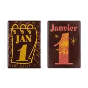 2 Plaquettes 1er Janvier (6 cm) - Chocolat Noir