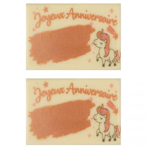 2 Plaquettes Joyeux Anniversaire Licorne A Graver (8,8 cm) - Chocolat Blanc