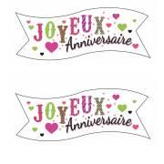 2 Banderoles Joyeux Anniversaire Coeur (9,4 cm) - Azyme