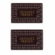 2 Plaquettes Joyeuses Pâques Capitonné  (6 cm) - Chocolat Noir