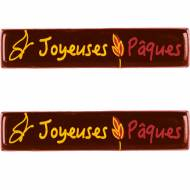 2 Plaquettes Joyeuses Pâques Papillon (7 cm) - Chocolat Noir