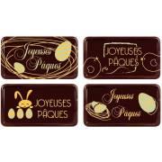 4 Plaquettes Joyeux Pâques (5,5 cm) - Chocolat Noir