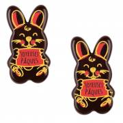 2 Petits Lapins Joyeuses Pâques (4,3 cm) - Chocolat
