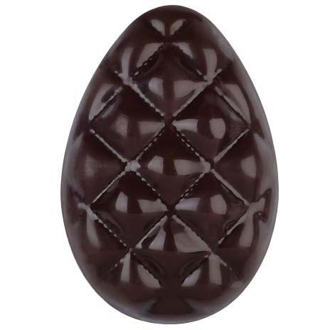 1 Demi Oeuf Capitonné Pâques  (3,7 cm) - Chocolat Noir