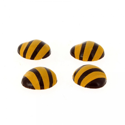4 Demi-Œufs Rayé Jaune (2,3cm) - Chocolat