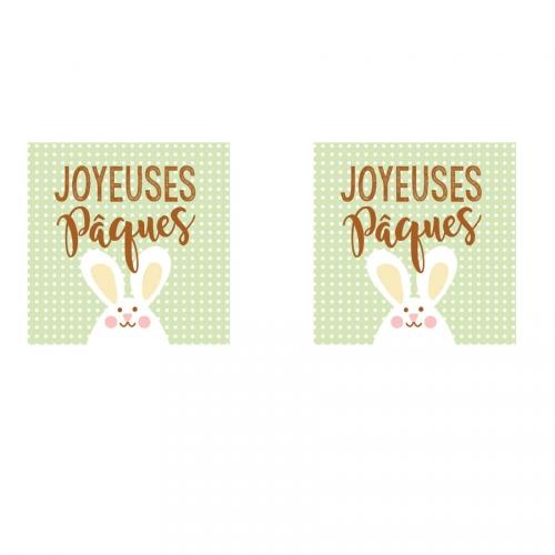 2 Carrés Joyeuses Pâques Lapin - Azyme