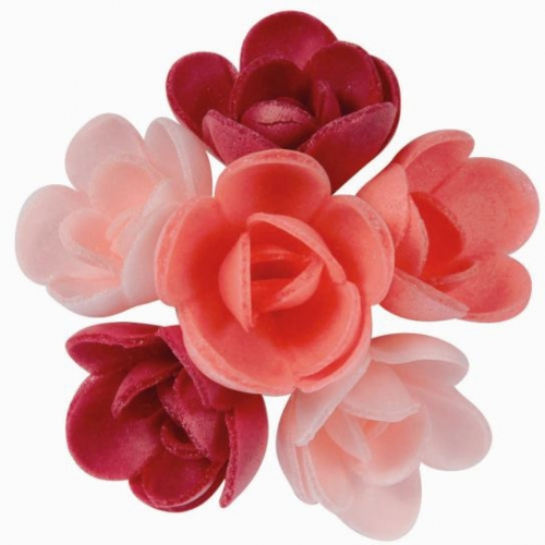 6 Mini Roses Rose (3 cm) Azyme - Saveur Fruits Rouges