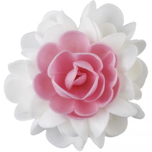 1 Bouquet de Roses Rose et Blanc (10 cm) - Azyme