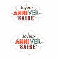 2 Sihouettes Nuages Joyeux Anniversaire (7,7cm) - Azyme