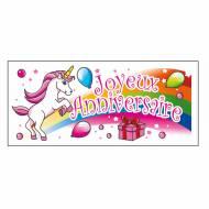 1 Plaquette Joyeux Anniversaire Licorne (9 cm) - Azyme