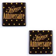 2 Carrés Joyeux Anniversaire (5 cm) - Chocolat Noir