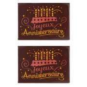 2 Rectangle Joyeux Anniversaire (6,1 cm) - Chocolat Noir