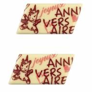 2 Plaquettes Joyeux Anniversaire Licorne Baby (5,5 cm) - Chocolat Blanc
