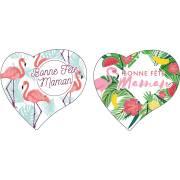 2 Coeurs Bonne Fête Maman (7,5 cm) - Azyme