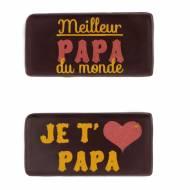 2 Plaquettes Meilleur Papa du Monde/Je t'aime Papa  (4cm) - Chocolat