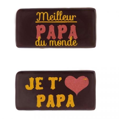2 Plaquettes Meilleur Papa du Monde/Je t aime Papa  (4cm) - Chocolat