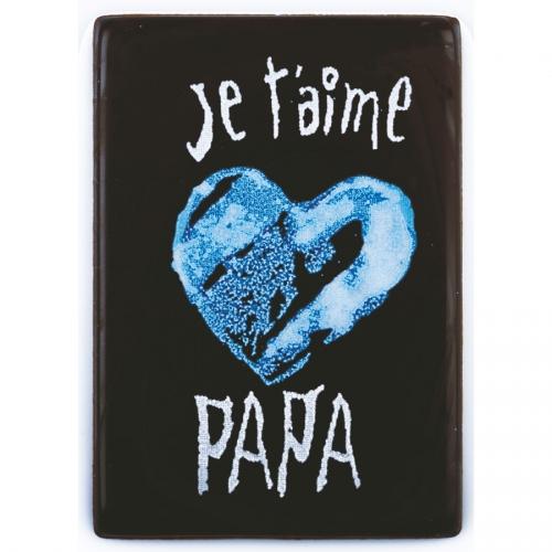 1 Plaquette Je t aime Papa Coeur Bleu ( 6,1 cm) - Chocolat