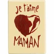 1 Plaquette Je t'aime Maman Coeur Rouge ( 6,1 cm) - Chocolat Blanc