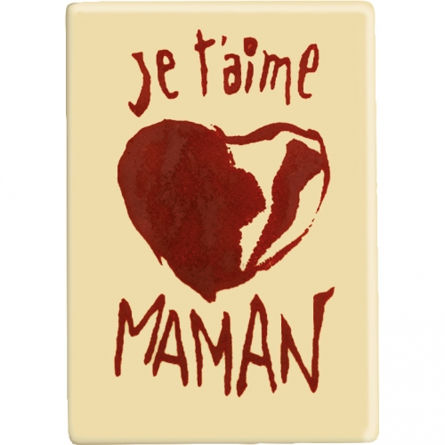 1 Plaquette Je t aime Maman Coeur Rouge ( 6,1 cm) - Chocolat Blanc
