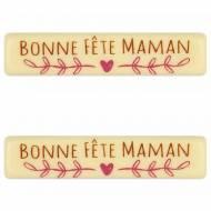 2 Plaquettes Bonne Fête Maman (7 cm) - Chocolat Blanc