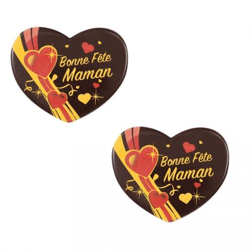2 Coeurs Bonne Fête Maman (5,4 cm) - Chocolat