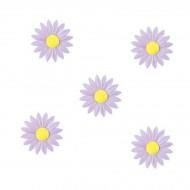 5 Petites Marguerites Lilas à Coeur Jaune (4,5 cm) - Azyme