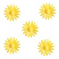 5 Petites Marguerites Jaunes à Coeur Jaune (4,5 cm) - Azyme